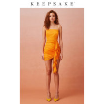 Dress Summer 2020 Orange XXS XS S M L XL Short skirt singleton  commute High waist Solid color Socket 25-29 years old Keepsake the Label literature fold More than 95% other polyester fiber Polyester 100%