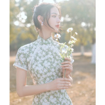 cheongsam Spring 2021 S M L XL XXL 3XL Pearl Green Short sleeve Retro Low slit daily Oblique lapel Broken flowers 18-25 years old Piping Pu Xu other Other 100% Pure e-commerce (online only)