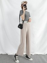 Casual pants S M L XL Spring 2020 Ninth pants Wide leg pants Natural waist commute Thin money 25-29 years old Simplicity fold Polyester 95% polyurethane elastic fiber (spandex) 5% Pure e-commerce (online only)