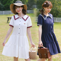 Dress Summer 2021 White Navy S M L XL 2XL Mid length dress singleton  Short sleeve Sweet Admiral High waist Solid color Socket A-line skirt routine Under 17 Type A Gu Meng 85412A7845Z21021 More than 95% other Other 100% solar system