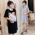 Dress Other / other Gray, black, 311 black, 311 white, 311 pink M,L,XL,XXL Korean version Short sleeve Medium length summer Lapel Animal design Space cotton