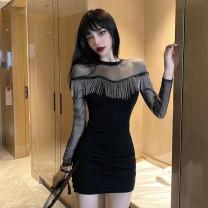 Women's large Winter 2020 black S M L XL Dress singleton  commute Long sleeves Solid color Korean version other routine Mugery / muger Short skirt Other 100.00%