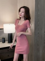 Women's large Summer 2020 Leather Pink Black S M L XL Dress singleton  commute Korean version XG62239 Mugery / muger 18-24 years old Other 100.00% Pure e-commerce (online only)