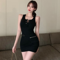 Dress Summer 2021 Grey black Average size Short skirt singleton  Sleeveless commute Crew neck Solid color A-line skirt Others 18-24 years old Type A Jane golly Retro JGL-AQ28535 More than 95% other Other 100% Pure e-commerce (online only)