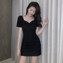 Dress Summer 2021 Black Pink S M L XL Short skirt singleton  Short sleeve commute V-neck High waist Solid color Socket One pace skirt routine Others 18-24 years old Type A Jane golly Retro fold JGL-MI6213 More than 95% other Other 100% Pure e-commerce (online only)