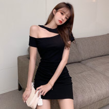 Dress Summer 2021 black S M L Short skirt singleton  Short sleeve commute Slant collar High waist Solid color A-line skirt routine Others 18-24 years old Type A Jane golly Retro JGL-YY5109 More than 95% other Other 100% Pure e-commerce (online only)