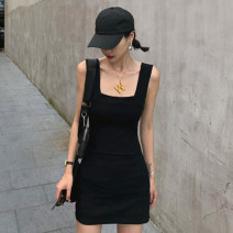 Dress Summer 2021 Grey black white S M L Short skirt singleton  Sleeveless commute square neck High waist Solid color A-line skirt Others 18-24 years old Type H Jane golly Retro JGL-HE4100 More than 95% other Other 100% Pure e-commerce (online only)