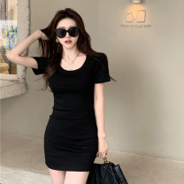 Dress Summer 2021 Black and white Average size Short skirt singleton  Short sleeve commute Crew neck High waist Solid color Socket One pace skirt routine Others 18-24 years old Type A Jane golly Retro JGL-DD6718 More than 95% other Other 100% Pure e-commerce (online only)