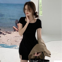 Dress Summer 2021 black Average size Short skirt singleton  Short sleeve commute Crew neck High waist Solid color A-line skirt routine Others 18-24 years old Type A Jane golly Retro JGL-JU1512 More than 95% other Other 100% Pure e-commerce (online only)