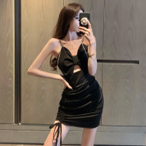 Dress Summer 2021 black Average size Short skirt singleton  Sleeveless commute V-neck High waist Solid color A-line skirt camisole 18-24 years old Type H Jane golly Retro JGL-NJ1164 More than 95% other Other 100% Pure e-commerce (online only)