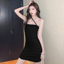 Dress Summer 2021 Black and white S M L Short skirt singleton  Sleeveless commute One word collar High waist Solid color A-line skirt camisole 18-24 years old Type A Jane golly Retro JGL-YY7158 More than 95% other Other 100% Pure e-commerce (online only)