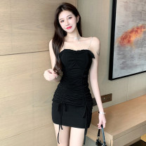Dress Summer 2021 black S M Short skirt singleton  Sleeveless commute One word collar High waist Solid color A-line skirt camisole 18-24 years old Type A Jane golly Retro JGL-WW2309 More than 95% other Other 100% Pure e-commerce (online only)