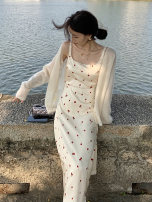 Dress Summer 2021 white XS S M L Middle-skirt singleton  Sleeveless commute square neck High waist Broken flowers Socket A-line skirt other Others 25-29 years old Type A Ao Yiqian Korean version printing 6218# More than 95% other other Other 100% Pure e-commerce (online only)