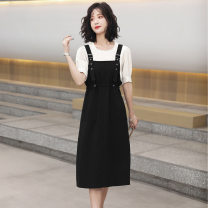 Dress Summer 2021 J80-k-black, n71-o-brown M,L,XL longuette Two piece set Sleeveless commute Crew neck High waist Solid color Socket A-line skirt routine straps 25-29 years old Type A Other / other Retro pocket 6SY1320 other