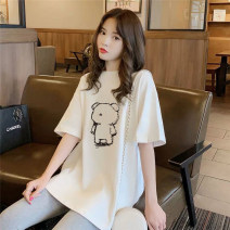 Women's large Summer 2021 S (80-110kg) m (110-135kg) l (135-160kg) XL (160-185kg) XXL (185-220kg) Dress singleton  commute easy Socket Short sleeve Cartoon animation hand painted solid color plants flowers words / numbers colors letters characters abstract patterns big flowers Korean version cotton