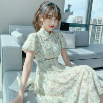 Dress Summer 2021 Beige S M L XL Mid length dress singleton  Short sleeve Sweet stand collar High waist Broken flowers Socket A-line skirt puff sleeve 25-29 years old Type A PA yuan Patchwork printing YJE9045 81% (inclusive) - 90% (inclusive) Chiffon other New polyester 90% viscose 10%