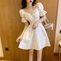 Women's large Summer 2020 White yellow S M L XL singleton  commute Short sleeve Solid color Korean version V-neck other puff sleeve FL19497 Ru Jian 18-24 years old Short skirt Other 100% Pure e-commerce (online only) Princess Dress