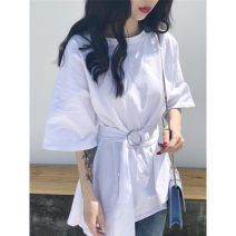 Women's large Summer 2020 White green purple M (recommended 85-100kg) l (recommended 100-120kg) XL (recommended 120-135kg) XXL (recommended 135-150kg) T-shirt singleton  commute easy thin Socket Short sleeve Solid color Korean version Crew neck Medium length routine Lian Yali 18-24 years old Bandage