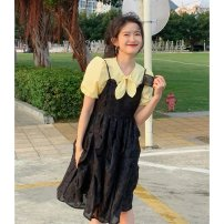 Dress Summer 2021 Black suspender skirt S M L Mid length dress singleton  Sleeveless commute other High waist Solid color Socket A-line skirt other 18-24 years old Type A Shenmu (clothing) Splicing More than 95% other polyester fiber Polyester 100% Pure e-commerce (online only)