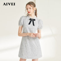 Dress Spring 2021 grey S,M,L Short skirt singleton  Short sleeve commute Crew neck High waist Solid color Socket A-line skirt routine 25-29 years old Type A AIVEI M0360092 More than 95% other