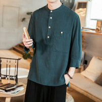 shirt Youth fashion Others M,L,XL,2XL,3XL,4XL,5XL Dark green, white, apricot, black routine stand collar three quarter sleeve easy Other leisure summer Large size Chinese style 2021