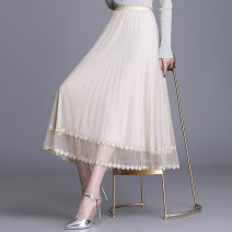 skirt Spring 2021 Average size / 80-145 Jin Pink apricot blue black Mid length dress commute High waist Pleated skirt Solid color Type A 25-29 years old YU-6895 91% (inclusive) - 95% (inclusive) Lace uvbv polyester fiber Gauze lace Korean version Other polyester 95% 5% Pure e-commerce (online only)