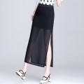 skirt Summer 2021 S M L XL 2XL 3XL 4XL Black single fork black double fork Mid length dress commute High waist skirt Solid color Type A 25-29 years old Chiffon uvbv zipper Korean version Pure e-commerce (online only)