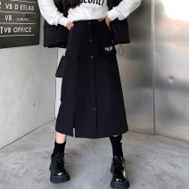 skirt Winter 2020 M,L,XL,2XL Greyish green long, black long, greyish green short, black short longuette commute High waist A-line skirt Solid color Type A 18-24 years old 98224H0521 polyester fiber Button