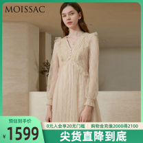 Dress Spring 2021 cream-colored XS S M L XL 2XL 3XL Mid length dress singleton  Long sleeves commute V-neck High waist 30-34 years old Type X MOISSAC lady MWBC50014 91% (inclusive) - 95% (inclusive) nylon Polyamide fiber (nylon) 94.2% others 5.8% Same model in shopping mall (sold online and offline)
