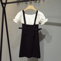 Dress Summer 2021 Black and white S M L XL Mid length dress Fake two pieces Short sleeve commute One word collar High waist Solid color Socket A-line skirt routine straps 25-29 years old Type A Butterfly footprints Korean version Splicing More than 95% other other Other 100%