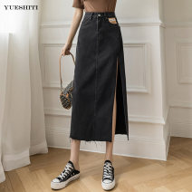 skirt Summer 2021 S M L XL Black grey blue longuette commute High waist A-line skirt Solid color Type A 25-29 years old Yt6757 denim skirt More than 95% Denim Yueshiti other pocket Retro Other 100% Pure e-commerce (online only)