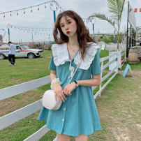 Dress Spring 2021 Lake blue violet black S M L Short skirt singleton  Short sleeve commute Doll Collar High waist Solid color Single breasted A-line skirt routine 18-24 years old Type A Love (clothing) Korean version Button SL2021013006 More than 95% polyester fiber Polyester 100%