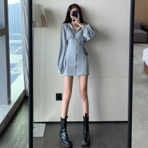 Dress Spring 2021 Grey black S M L Short skirt singleton  Long sleeves commute Hood High waist Solid color zipper A-line skirt routine Others 18-24 years old Type A Manfanmei Korean version 80518051# More than 95% other Other 100% Pure e-commerce (online only)