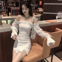 Women's large Spring 2021 white S M L Dress singleton  commute Conjoined Solid color Korean version Janet (costume) 18-24 years old Middle-skirt Other 100%