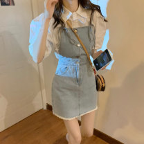 Women's large Summer 2020 Denim suspender skirt 8298 white shirt 560 S M L XL XXL XXXL Dress Two piece set commute Self cultivation moderate Cardigan Short sleeve Solid color Korean version Polo collar routine puff sleeve Janet (costume) 18-24 years old Short skirt Other 100%