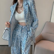 suit Autumn 2020 Coat and trousers S M L XL Long sleeves Medium length easy tailored collar Single breasted Versatile routine Plants and flowers 9223# 25-29 years old 96% and above other Button Other 100% Pure e-commerce (online only)