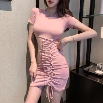 Women's large Spring 2021 Black pink light grey S M L Dress singleton  commute Conjoined Short sleeve Solid color Korean version 6989# Janet (costume) 18-24 years old 31% (inclusive) - 50% (inclusive) Short skirt Other 100% Pure e-commerce (online only) Pencil skirt