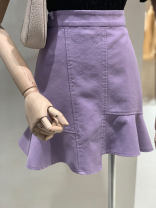 skirt Spring 2021 S,M,L,XL White, black, blue, purple Short skirt commute High waist Ruffle Skirt Solid color Type X 25-29 years old A9639 More than 95% other Ocnltiy other Ruffles, zippers Korean version