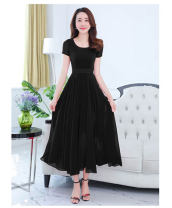 Dress Summer of 2019 S,M,L,XL,2XL,3XL,4XL,5XL longuette singleton  Short sleeve commute Crew neck middle-waisted Solid color Socket Big swing routine Others Type A Korean version 81% (inclusive) - 90% (inclusive) Chiffon