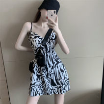 Dress Spring 2021 Picture color S,M,L Short skirt singleton  Sleeveless commute V-neck middle-waisted Decor Socket Princess Dress 18-24 years old Type H Retro 2028# 81% (inclusive) - 90% (inclusive)