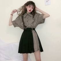 Women's large Summer 2020 S M L XL 2XL skirt Two piece set Sweet easy moderate Cardigan Short sleeve lattice Polo collar Medium length Three dimensional cutting routine EN Heng 18-24 years old Short skirt Other polyester 95% 5% Pure e-commerce (online only) Pleated skirt straps solar system