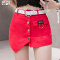 skirt Summer 2021 S M L XL XXL Black white red Short skirt commute High waist A-line skirt Solid color Type A 25-29 years old More than 95% Denim Find rhyme other pocket Korean version Other 100%
