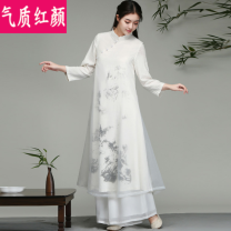 Dress Winter 2020 White dress white dress + White Chiffon pants M L XL 2XL longuette Two piece set Long sleeves commute stand collar A-line skirt routine 25-29 years old Temperament and beauty ethnic style printing QZHY20DL2520 More than 95% other Other 100% Pure e-commerce (online only)