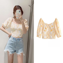 shirt yellow XS,S,M,L Summer 2020 cotton 51% (inclusive) - 70% (inclusive) Short sleeve Short style (40cm < length ≤ 50cm) square neck Single row multi button puff sleeve Broken flowers Self cultivation hm  zara.ur Embroidered, crocheted, hollowed out, pleated, button