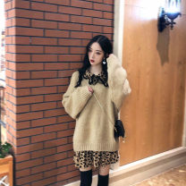 Women's large Winter 2020 [single] leopard shirt [single] sweater [suit] leopard shirt + sweater Large L Large XL s M Dress Two piece set commute thick Socket Long sleeves Leopard Print Retro polyester fiber other Chang Xiao 18-24 years old 96% and above Short skirt Other 100%