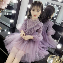 Dress Purple, blue female Other / other 100cm,110cm,120cm,130cm,140cm,150cm Other 100% summer princess Short sleeve Solid color Netting Vest skirt Class A Chinese Mainland