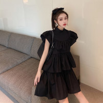 Women's large Summer 2020 black S M L Dress singleton  Sweet easy moderate Socket Sleeveless Solid color Half high collar Three dimensional cutting Xia Qilin 18-24 years old Resin fixation Medium length Other 100% Cake skirt Countryside