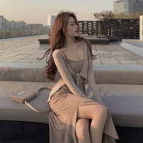 Women's large Autumn 2020 Nude {coat} white {coat} latte {suspender skirt} silver grey {suspender skirt} S M L Dress Two piece set commute Self cultivation moderate Socket Long sleeves Solid color Korean version Crew neck Medium length Three dimensional cutting other Z2406 Xia Qilin 18-24 years old