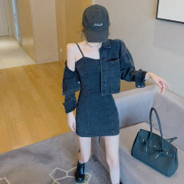 Women's large Winter 2020 Black grey {denim coat} black grey {suspender skirt} S M L Dress Two piece set commute easy moderate Cardigan Long sleeves Solid color Korean version Crew neck have cash less than that is registered in the accounts Three dimensional cutting routine Z7956 Xia Qilin pocket