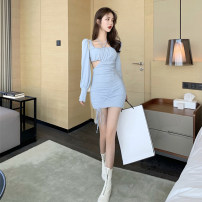 Women's large Autumn 2020 blue S M L Dress singleton  commute Self cultivation moderate Socket Long sleeves Solid color Korean version square neck Three dimensional cutting puff sleeve Z2197 Xia Qilin 18-24 years old Bandage Middle-skirt Other 100% other
